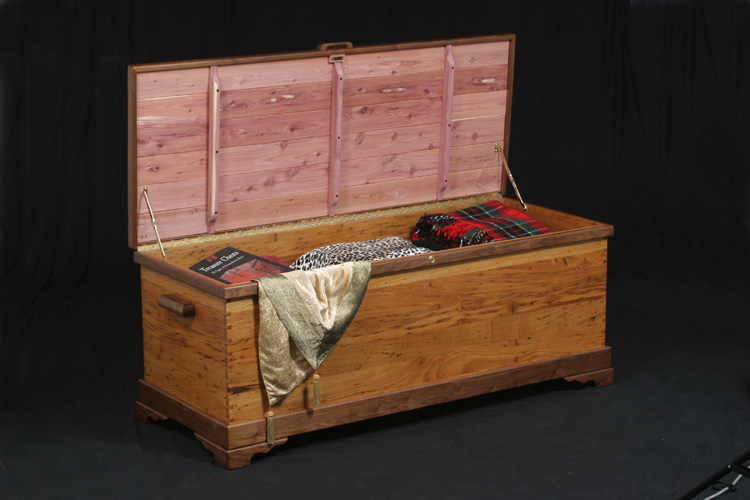 """Second Blanket chest I build for a client Wood: American Wormy Chestnut, Walnut, and Cedar Lined Top an Bottom Joniery: Dove tail Size: 1st chest was 24"""" wide x 24"""" tall x 60"""" long the 2nd was 24"""" wide x 24"""" tall x 48' long.  Finish: Clear Hand Rubbed Oil"""