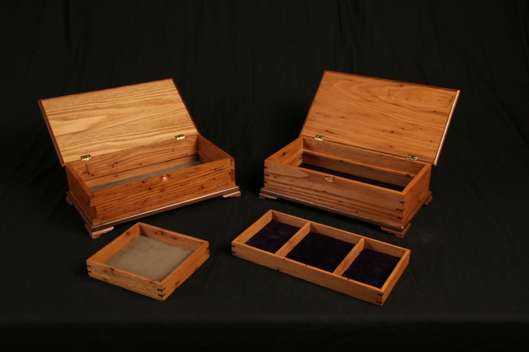 4 jewelry box's were commissioned two male and two female for Christmas gifts after the same design as the blanket chest I was commission to do.  Wood: American Wormy Chestnut The Female design has a lift out lid with compartments where the male has half a lift out to accommodate cell phone, wallet, watch and so forth.