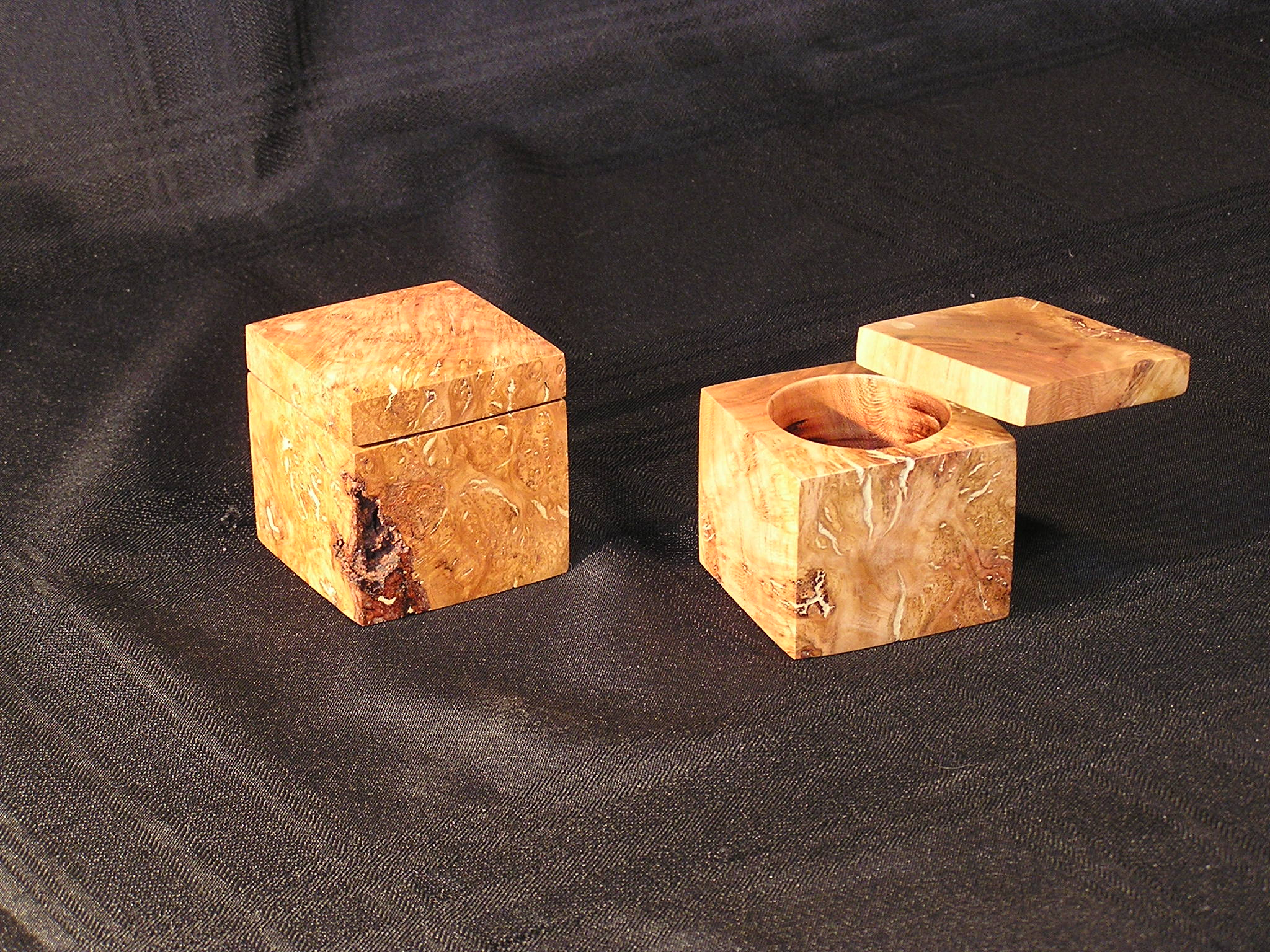 "Ring Boxes for Valentines, Proposal, and Weddings Wood: Cherry Burl Size: 2 1/2"" x 2 1/2"" x 2 1/2"" Finish with a clear oil hand rubber"