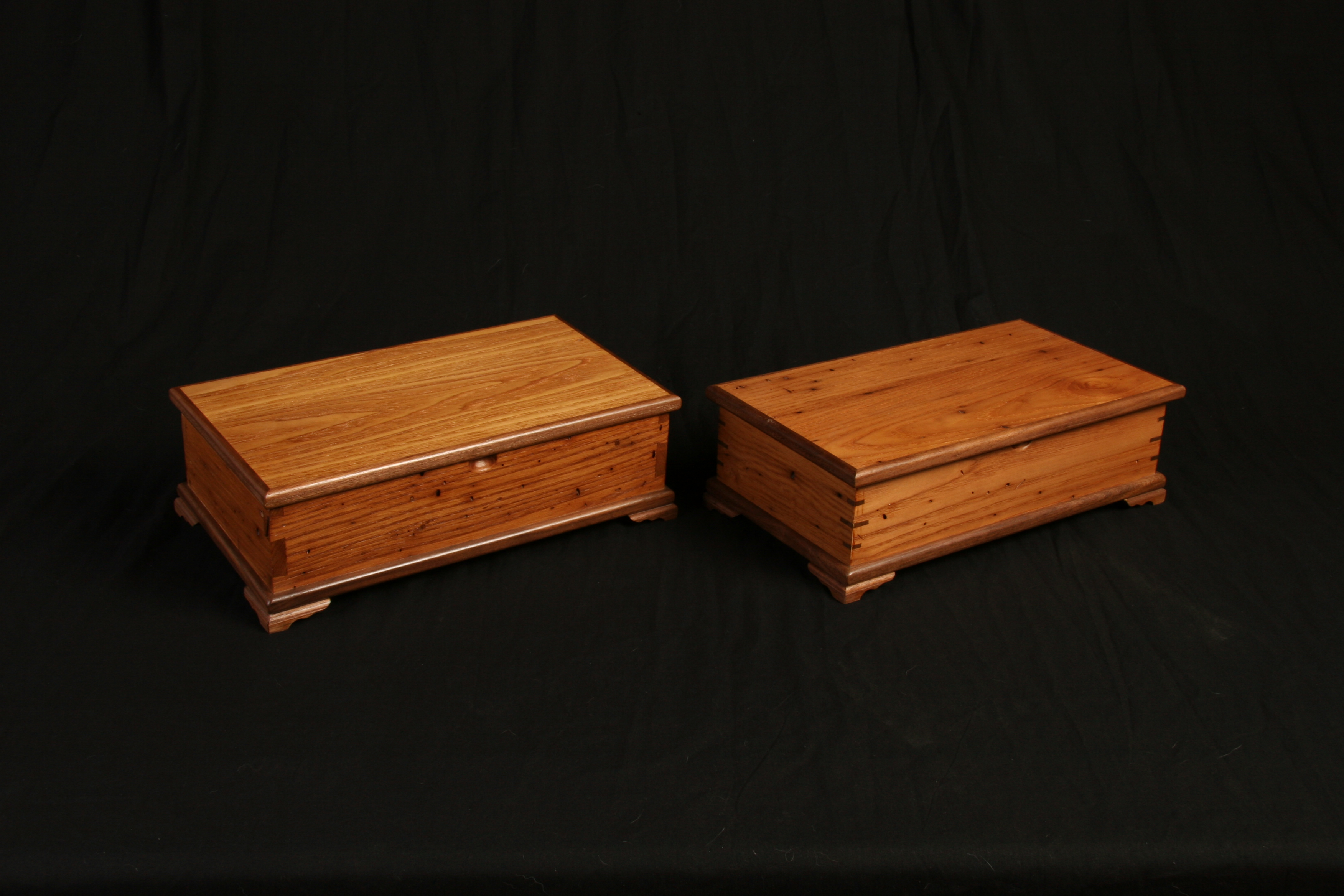 These two box's were designed after two blanket chest i design for them. One is male with dovetails corners and the female has slip feather joinery in the corners.