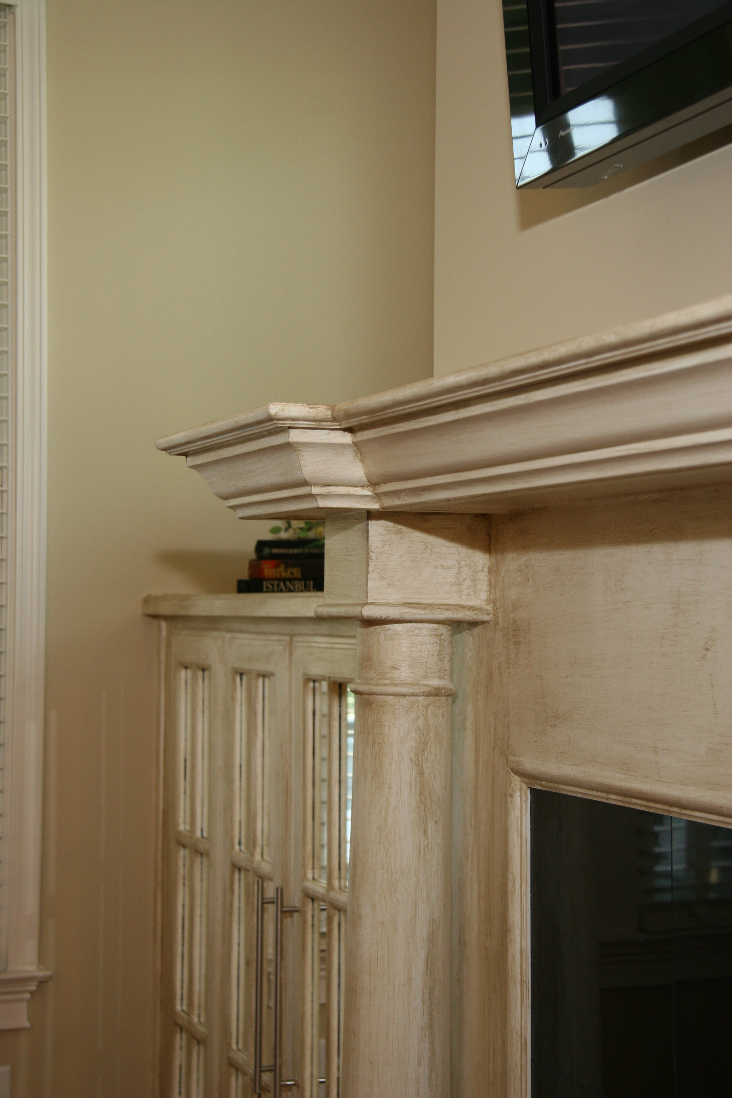 More Details of firplace Mantel and Side Cabinets