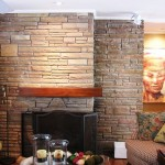 L - Shaped Mantel set into the stone work Wood: Walnut