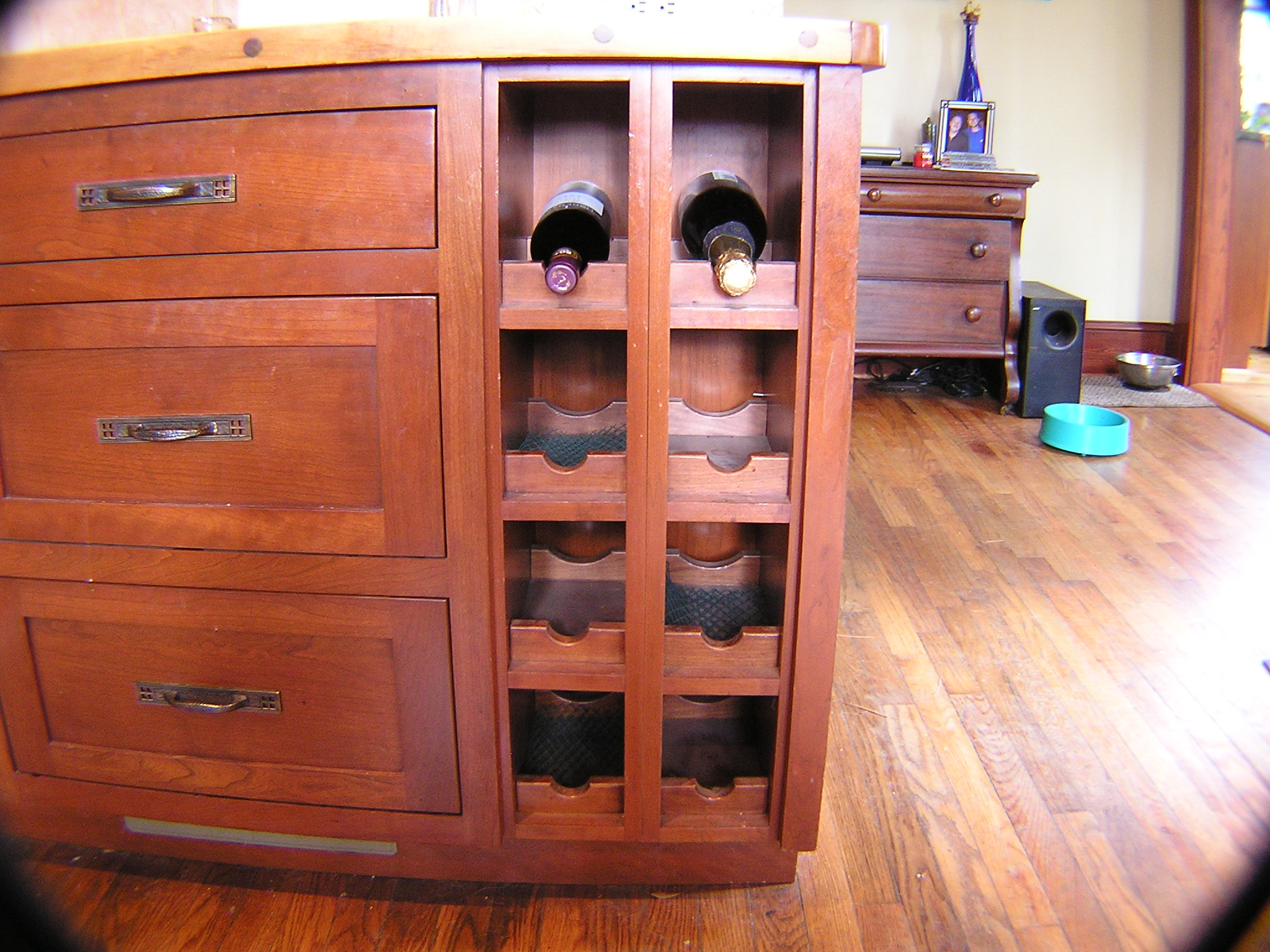 Custom Cherry Cabinet and Wine Rack
