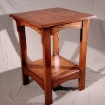 "This Mission styled table has some influence of Green & Green bothers with the square peg  Wood: Red Oak, with walnut pegs   Size: 24"" wide x 24"" Deep x 32"" tall  Clear hand rubbed oil finish"