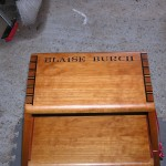 Custom Name Carved in the top of Custom Built Library Stool Wood: Curly Cherry