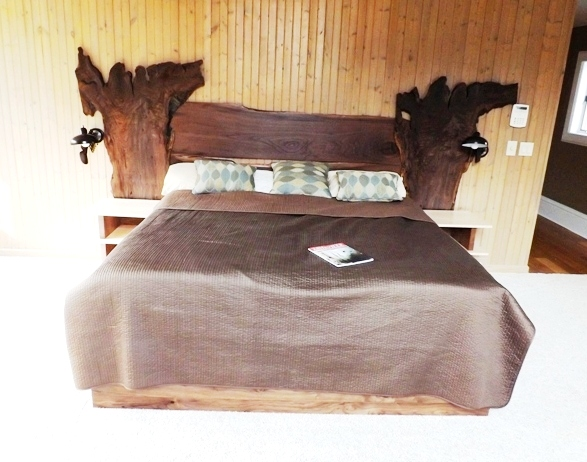 "Custom Bed Wood :Air Dried Walnut with live edge Size: 10' Wide x 54"" tall king size bed  finish: Hand Rubbed clear oil"