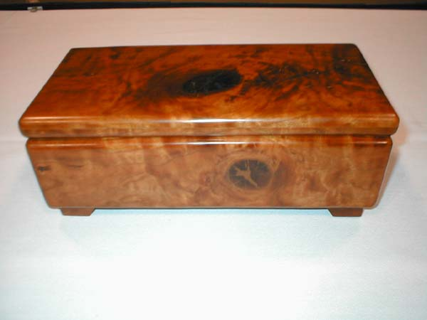 "Curly knotty Cherry Jewelry Box Size: 12' long x 6"" wide x 4"" tall Finish: Clear hand rubbed oil"
