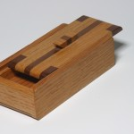 Small Sliding lid Box Wood- Red Oak and Walnut
