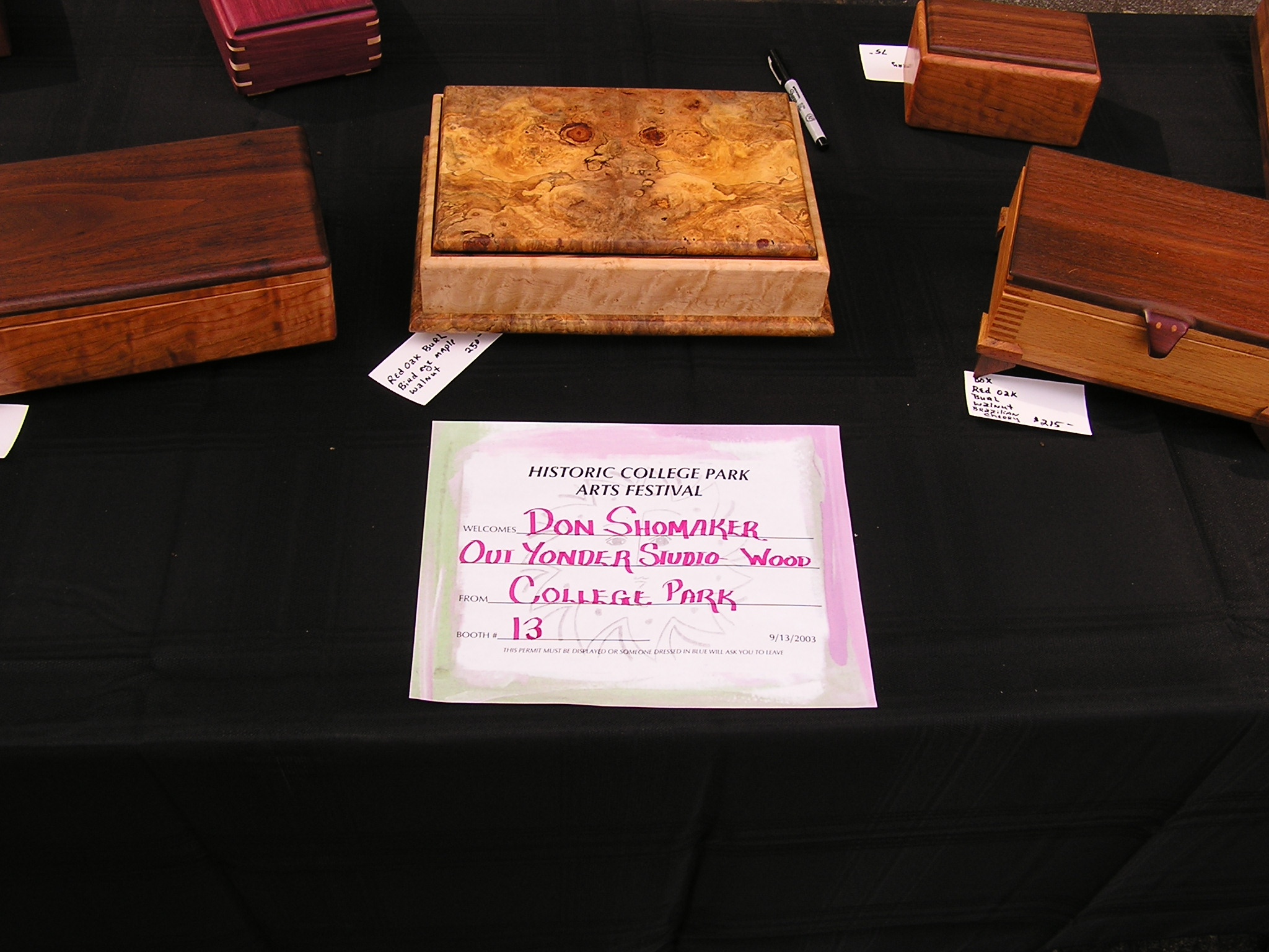 Assortment of Jewelry Boxes  Center - Oak Burl and Birdseye Maple Left - Curly Cherry and Walnut