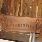 Custom Carving Signage with Name an Flowers Wood: Poplar
